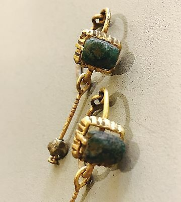 Pair Of Ancient Roman Gold OpenWork Earrings With Green Beads, Elegant Jewellery