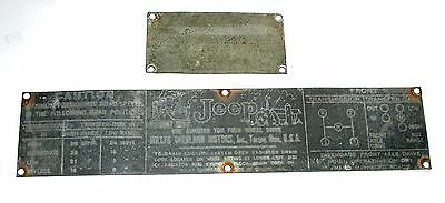 Vintage 1941-42 Ww2 Willys Overland Jeep Id Number Plate & Matching Specs Plate
