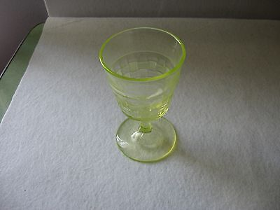 EAPG Basket Weave Goblet Canary Yellow Vaseline Chicago Glass Company 1880's