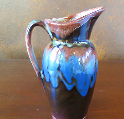Dryden Arkansas Art Pottery Pitcher Vase Brown Drip