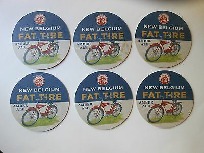 """LOT OF (6) BEER COASTERS """"NEW BELGIUM FAT TIRE AMBER ALE"""" 2 sided 4"""" in diameter"""