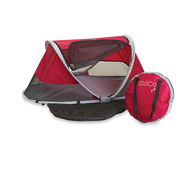 Peapod Outdoor Infant Child Sleeping Pad Zipper Panel Carry Travel Bed Cranberry