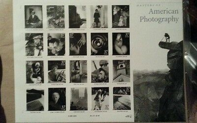 2001 USPS Masters of American Photography Full Pane 20 stamps 37 cents Mint