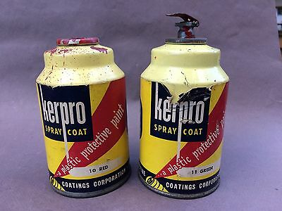 2 Vtg  Spray Paint Cans Kerpro Grenade Style Paper Label Red Green