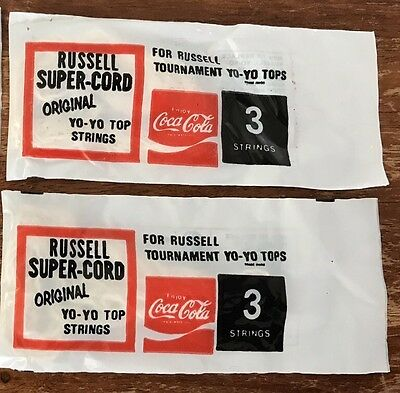Vintage Coca Cola Russell 2 Packs of 3 YoYo Strings From 1970's