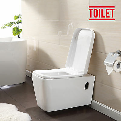 BN Stylish Wall Hung White Ceramic WC Toilet Bathroom Soft Close Coupled Pan