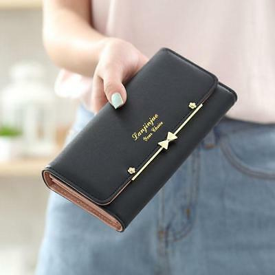 Women Lady Fashion Simple Purse Coin Phone Card Holder PU Leather Long Wallet