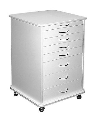 Medical Dental Equipment 7-Drawer Doctors Mobile Cabinet Cart White