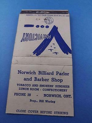 Norwich Billiard Parlor Pool Hall Matchbook War Victory Tax Stamp Phone 39