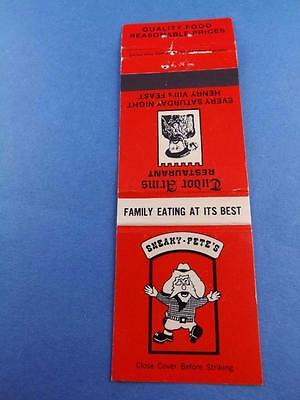 Sneaky Pete's Tudor Arms Restaurant Niagara Falls Windsor Ont Matchbook Vintage