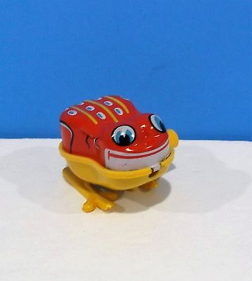 "Tiny Old Tin Litho & Plastic Wind up Toy Frog 2"" YONE Japan Nice!"