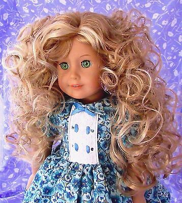 Monique DORIAN Blond w/HL Doll Wig 10-11 Full Cap American Girl Sz Loose Curl