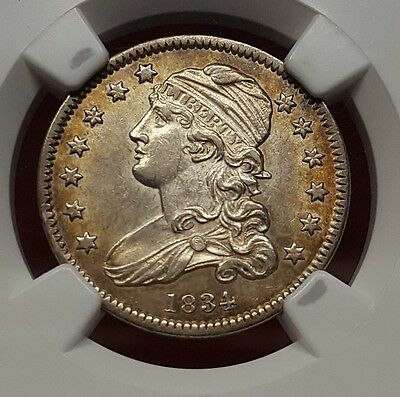 1834 Capped Bust Quarter, NGC AU 58, Very Nice