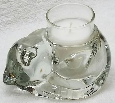 Clear INDIANA GLASS Sleeping Cat Votive Candle Holder + White Candle in Glass