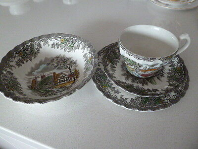 English Trio Tea Cup Set Vintage with breakfast bowl