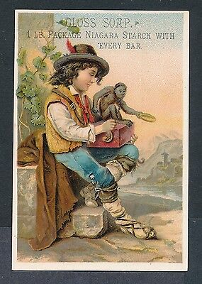 1880's Trade Card  Gloss Soap Organ Grinder + Monkey Lautz Bros &  Co.'s