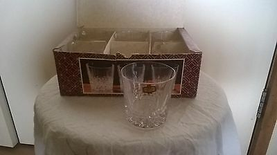 3 different sets of crystal glasses - genuine - champagne,wine/port/whiskey