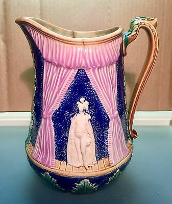 Antique Majolica Pitcher Rich Cobalt Classic Theater Scene Rare
