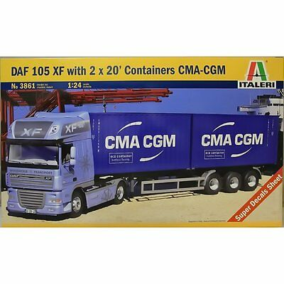 1/24 Italeri DAF 105 XF with 2x20' Containers CMA-CGM Model Kit #3861