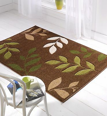 """Modern Floral Hand Carved Rug Brown Green in 80 x 150 cm (2'6""""x5'0"""") Carpet"""