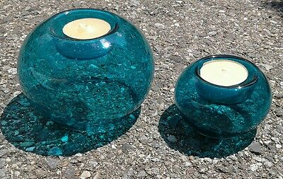Pair of Beautiful Mid Century Hand Blown Teal Bubble Glass Votive Candle Holders