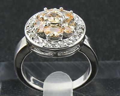 0.72Ct Natural Round Citrine & Diamond 14Kt Solid White Gold Ring Size 6#