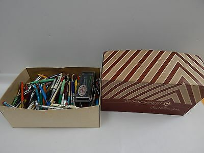Pen Collection LOT - Shoebox of Pens - Vintage Advertising - Ink - Rollerball