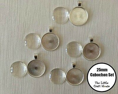 5 x 25mm Cabochon Tray and Dome Set Silver Setting Round Glass Pendant DIY