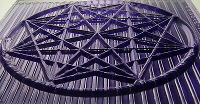large antique GLASS PRISM tile STAR window  architectural salvage PURPLE luxfer