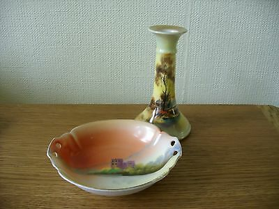 Vintage Noritake Hand Painted Candlestick and Pin Dish Made in Japan Porcelain