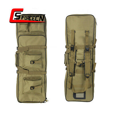 """33"""" 85cm Tactical Rifle Bag Dual Gun Case Backpack Pack with Magazine Pouch Tan"""