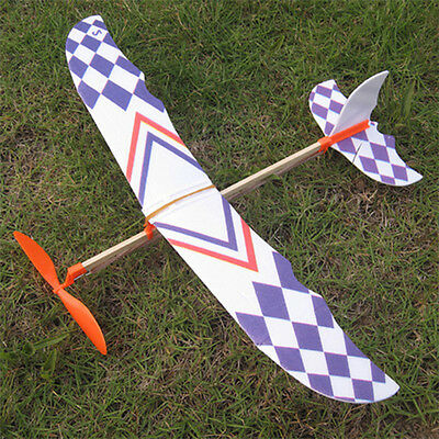 10X Foam Elastic Powered Glider Rubber Band Plane Flying Model Aircraft Kids Toy