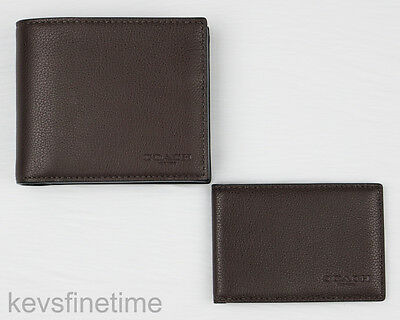 adaa3fc3bb74 New Coach Men Compact ID Wallet Mahogany Sport Calf Leather Billfold F74991   175