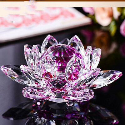 80mm CRYSTAL CUT LOTUS FLOWER ROSE ORNAMENT WITH GIFT BOX 3 COLOUR