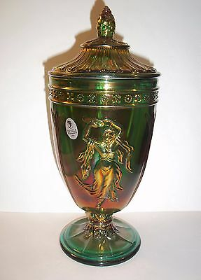 Fenton Glass Emerald Green Carnival Dancing Ladies Urn Covered Vase New