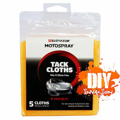 Tack Cloths 5pk Motospray Wiping Cloth Wax & Silicon Free Dust Dirt Lint Remover