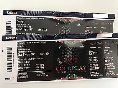 2 x Coldplay tickets, Milano Stadio San Siro, 03.07.2017