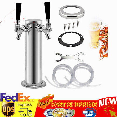 Double Tap Stainless Steel Draft Beer Tower Homebrew Kegerator Chrome Faucets US