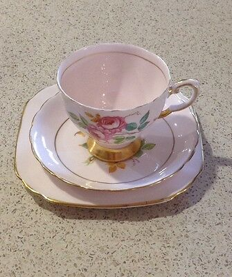 Tuscan Fine English Bone China (regency) Pink Cup Saucer And Plate Set
