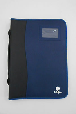 Briefcase compendium document case large wallet organiser blue black A4 handle