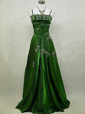 Cherlone Green Sparkly Long Satin Ball Prom Wedding/Evening Gown Dress UK 18-20