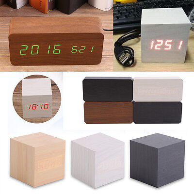 Wood Digital Table Alarm Clock Time LED Display USB Charge Clapper Sound Control