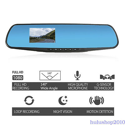 "3"" 1080P Full HD In-Car Rear View Car Mirror Camera Dash Cam Video Recorder"