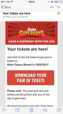 2 Alton Towers Tickets -Saturday 29 July