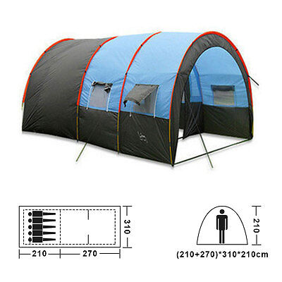 Large Tent 2+1 Rooms 6-8 Persons Family Group Camping Tent Waterproof UK Seller