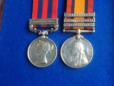 India General Service Medal Waziristan & Queens South Africa Medal To A Daniels