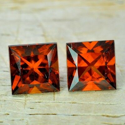 3.45ct. 2pcs Natural ORNAGE RED HESSONITE Garnet From Africa ~ PAIR