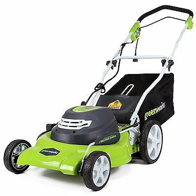 new GreenWorks 25022 12 Amp Corded 20-Inch Lawn Mower 3-in-1 feature