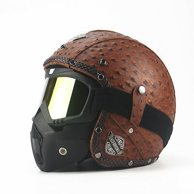 Vintage leather motorcycle motorbike open face helmet 3/4 with face mask
