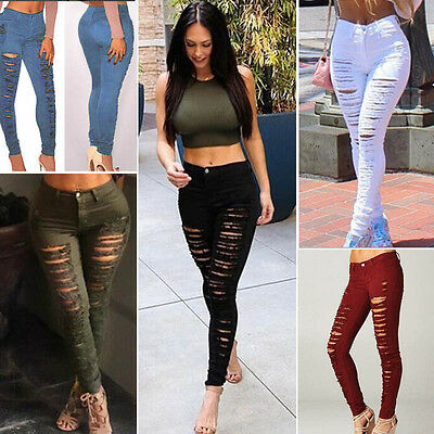 Women Denim Skinny Ripped Pants High Waist Stretch Long Jeans Pencil Trousers